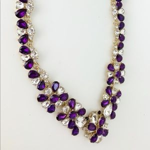 Charter Club Purple Crystal Cluster Necklace NWT